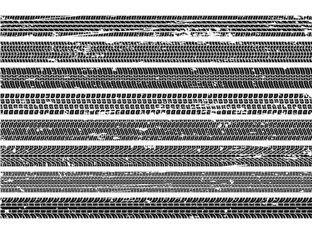 Bandensporen voor voertuigen. loopvlak grunge spoor wiel trace trail vuile weg snelheid skid auto kras print textuur collectie