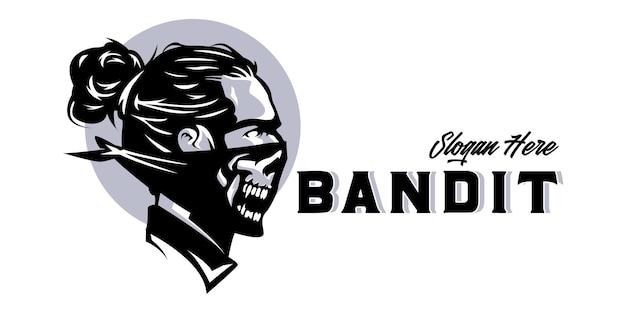 Bandit hoofd mascotte logo