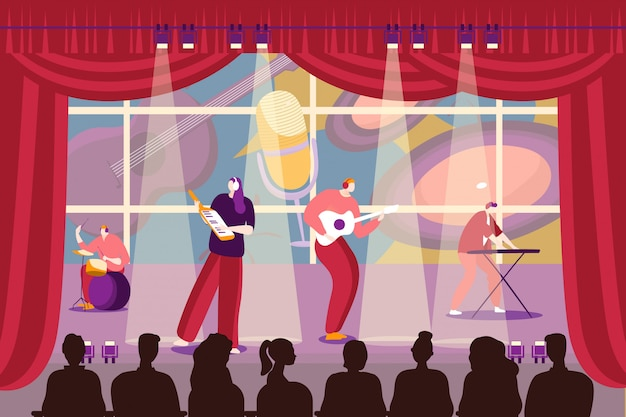 Bandmensen die muziek spelen bij stadium, illustratie. cartoon man vrouw karakter muzikanten op prestaties, muzikale groep.
