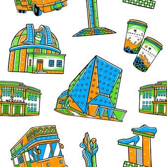 Bandung-stad naadloos patroon met oriëntatiepuntenelementen