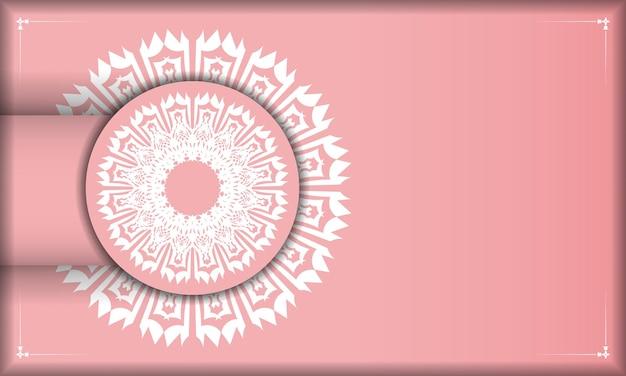 Baner roze met grieks wit ornament voor ontwerp onder logo of tekst