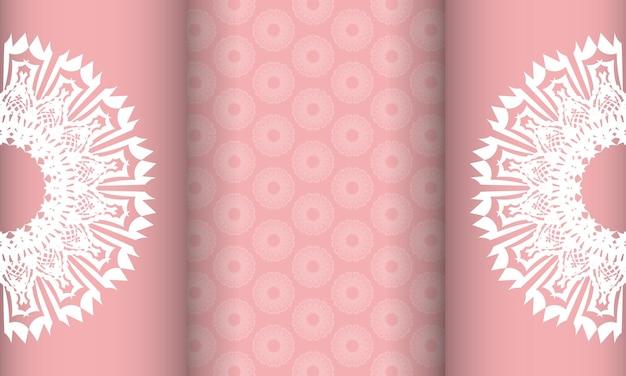 Baner roze met grieks wit patroon voor ontwerp onder logo of tekst