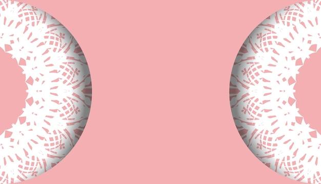 Baner roze met mandala wit ornament voor ontwerp onder uw logo of tekst