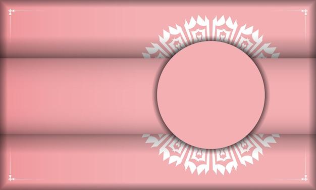 Baner roze met vintage wit ornament voor ontwerp onder logo of tekst