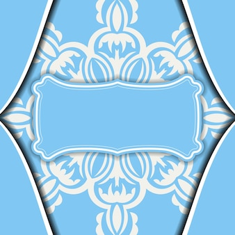 Baner van blauwe kleur met grieks wit patroon voor ontwerp onder uw logo
