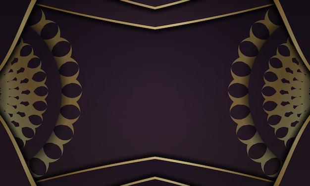 Baner van bordeauxrode kleur met een mandala met een gouden patroon en een plek voor uw logo of tekst