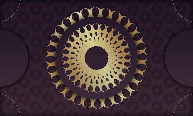 Baner van bordeauxrode kleur met indiaas gouden ornament voor ontwerp onder logo of tekst