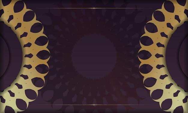 Baner van bordeauxrode kleur met mandala gouden ornament voor ontwerp onder logo of tekst