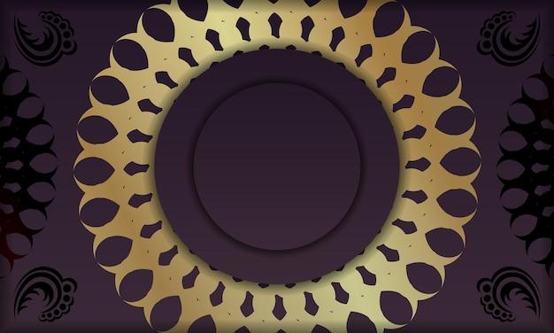 Baner van bordeauxrode kleur met vintage gouden ornament voor ontwerp onder logo of tekst