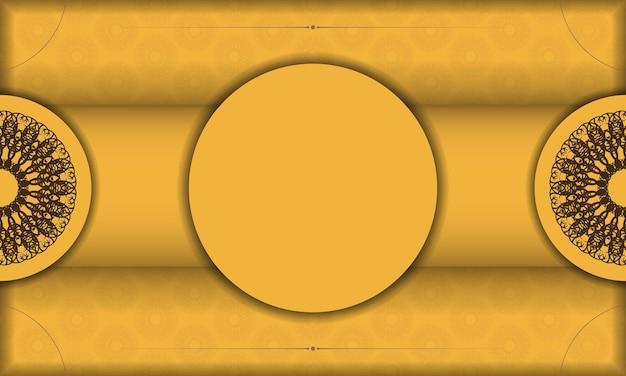 Baner van gele kleur met abstract bruin ornament voor ontwerp onder uw tekst