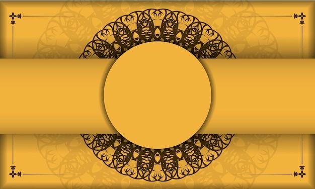 Baner van gele kleur met grieks bruin ornament voor ontwerp onder uw tekst