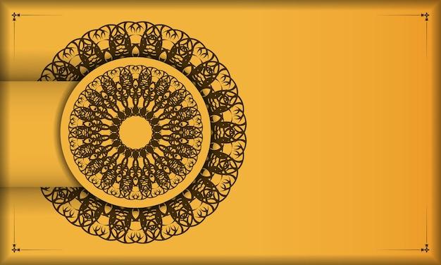 Baner van gele kleur met indisch bruin ornament voor ontwerp onder uw tekst