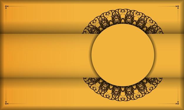 Baner van gele kleur met mandala bruin ornament voor ontwerp onder uw tekst