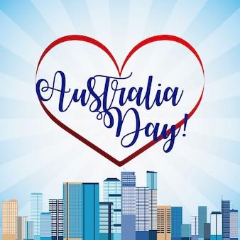 Baner van happy australië dag en skyline