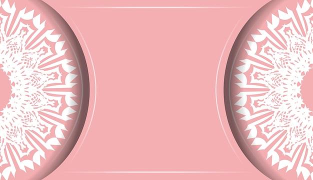 Baner van roze kleur met indiaas wit ornament voor ontwerp onder uw logo of tekst