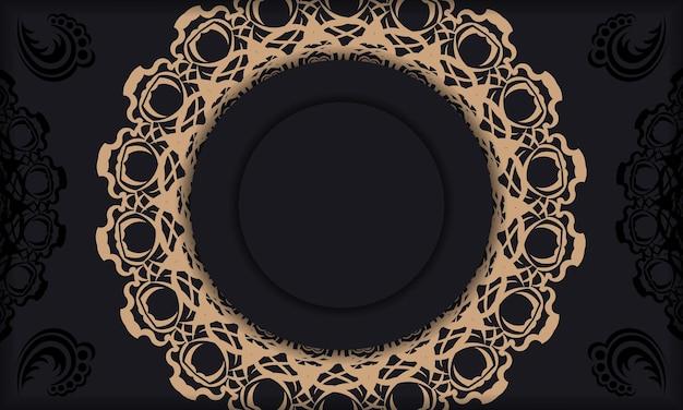 Baner van zwarte kleur met mandala bruin patroon voor ontwerp onder uw tekst