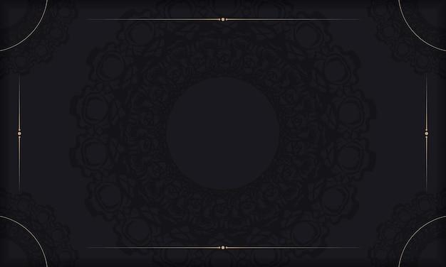 Baner van zwarte kleur met mandalapatroon voor ontwerp onder uw tekst
