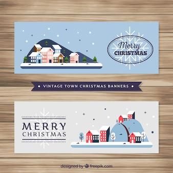 Baners van prachtige kerstdorpen