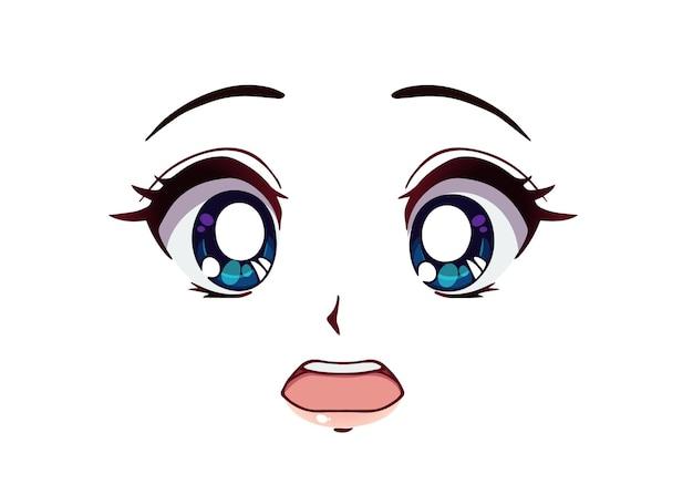 Bang anime gezicht. grote blauwe ogen in manga-stijl, kleine neus en kawaii-mond. hand getekend cartoon vectorillustratie.