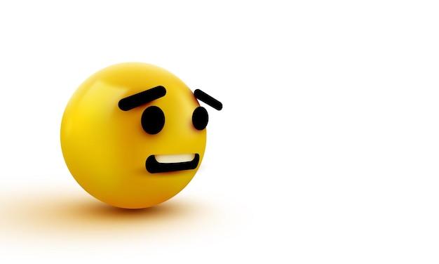 Bang emoji geïsoleerd op een witte achtergrond, geschokt emoticon
