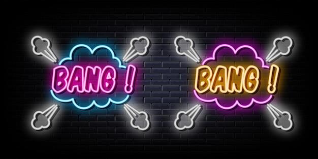 Bang poster neonreclames vector ontwerpsjabloon neon stijl