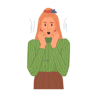 Bange blonde vrouw in stress doodsbange dame