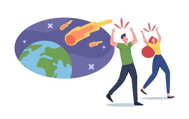 Bange mannelijke en vrouwelijke personages rennen weg van meteoriet brandende ballen vallen op aarde