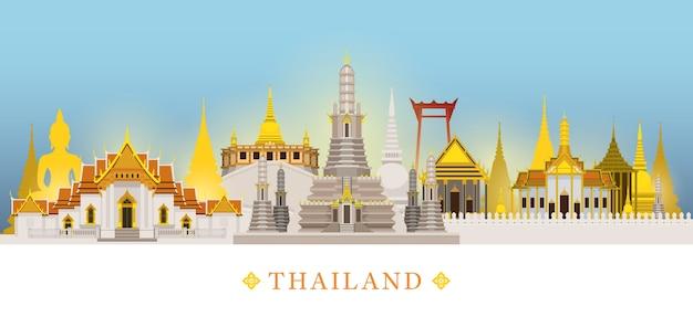 Bangkok, thailand, tempel, oriëntatiepunten skyline achtergrond, beroemde plaats, reizen en toeristische attractie