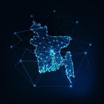 Bangladesh kaart gloeiende silhouet overzicht gemaakt van sterren lijnen stippen driehoeken, lage veelhoekige vormen.