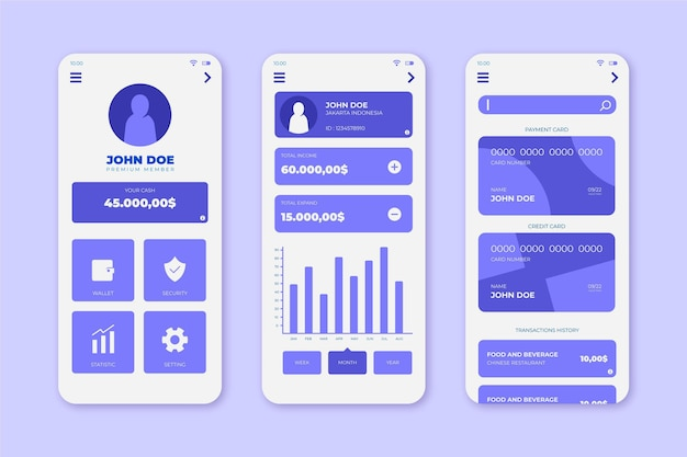 Bank app-interface collectie