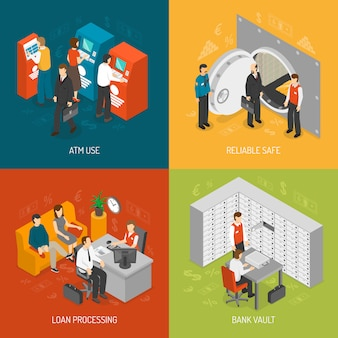 Bank concept icons set