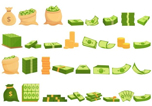 Bank contant pictogrammen instellen. cartoon set van bank contant geld vector iconen voor webdesign