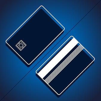 Bank creditcard mockup vector illustratie lege zakelijke sjabloon op blauwe achtergrond