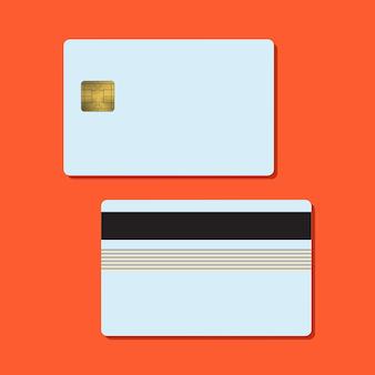 Bank creditcard mockup vectorillustratie lege zakelijke sjabloon op rode achtergrond met schaduw