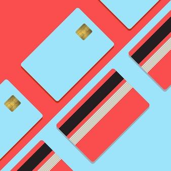 Bank creditcard mockup vectorillustratie lege zakelijke sjabloon op roze en blauw