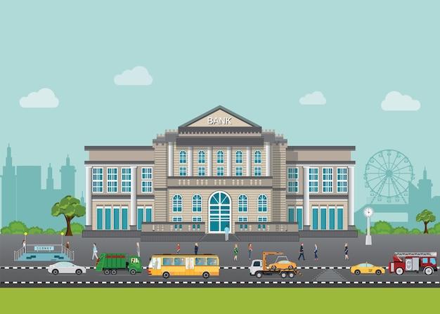 Bank de bouw buiten in stadsruimte met straat en auto, vectorillustratie.