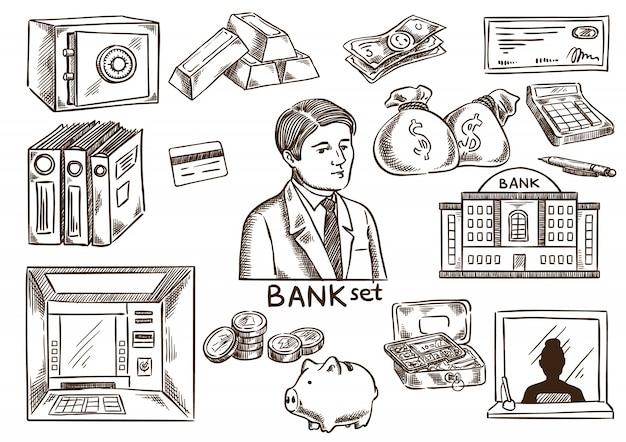 Bank en bussines schets set
