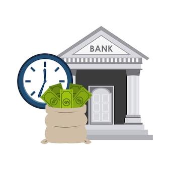 Bank gebouw economie pictogrammen