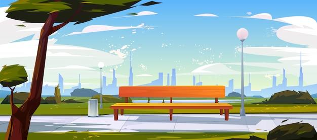 Bank in de tijdlandschap van de parkzomer met stadsmening