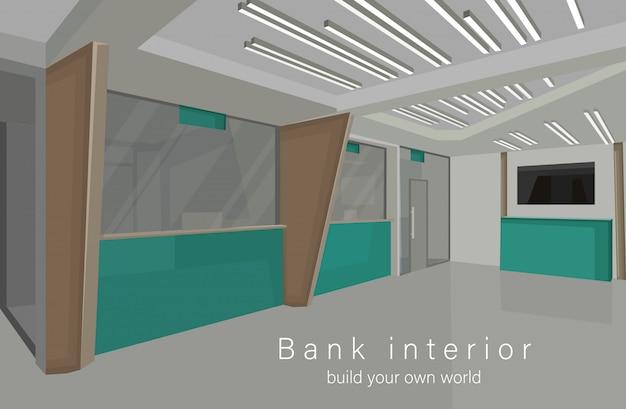 Bank interieur ontwerpconcept