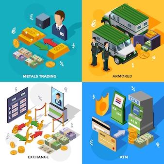 Bank isometrisch ontwerpconcept