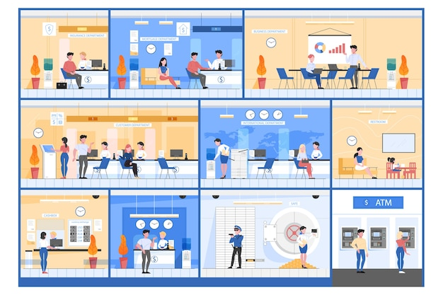 Bank kantoor concept. mensen voeren financiële operaties uit op verschillende afdelingen. valutawissel, atm-bediening en advies. beveiliging bij geldkluis. illustratie in stijl