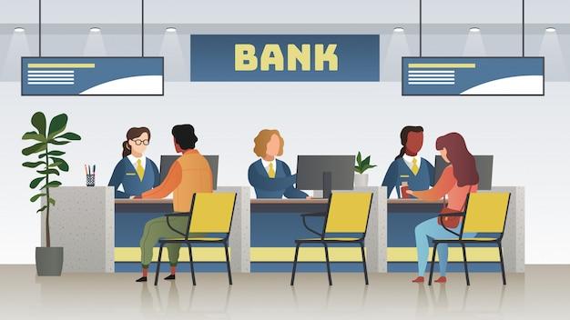 Bank kantoor interieur. professionele bankdienst, financieel manager en klanten. krediet, storting raadplegen beheer vector concept