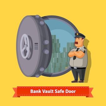 Bank kluis kamer kluis deur met een officier wacht