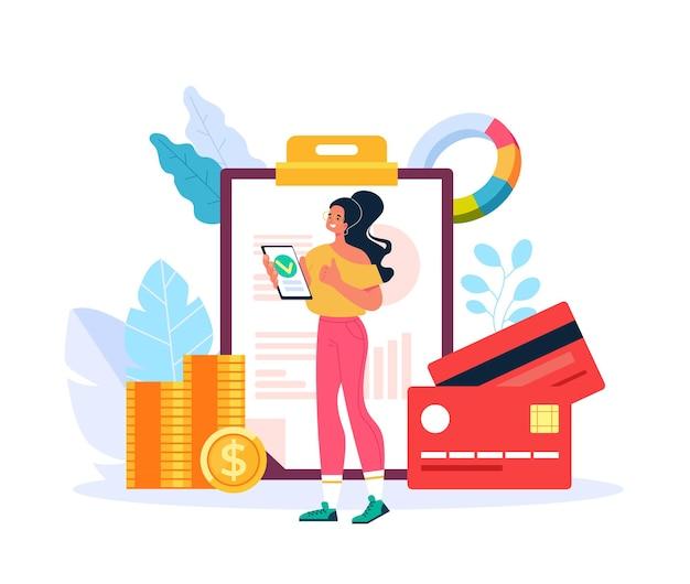 Bank lening krediet geld goedkeuren concept platte grafisch ontwerp illustratie