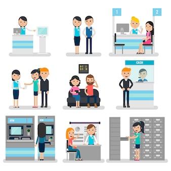Bank mensen platte collectie