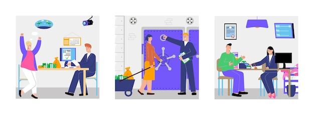 Bank ontwerpconcept met vierkante illustratie