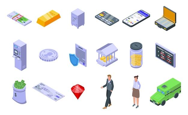 Bank pictogrammen instellen. isometrische reeks bankpictogrammen voor web dat op witte achtergrond wordt geïsoleerd