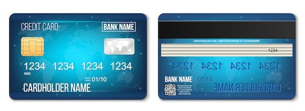 Bank plastic creditcard twee kanten ingesteld.