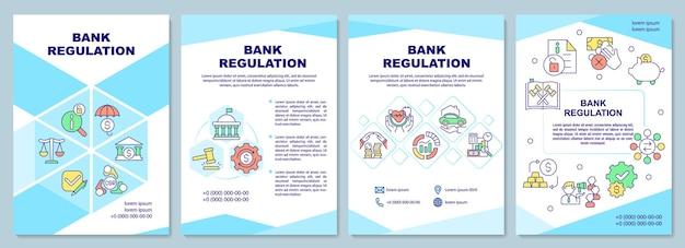 Bank regelgeving brochure sjabloon. minimale reserveratio. flyer, boekje, folder afdrukken, omslagontwerp met lineaire pictogrammen. vectorlay-outs voor presentatie, jaarverslagen, advertentiepagina's